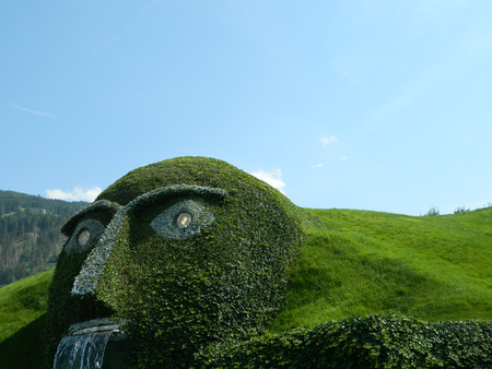 legend: Swarovski green man of legend near Innsbruck, Austria, at the main crystal factory.