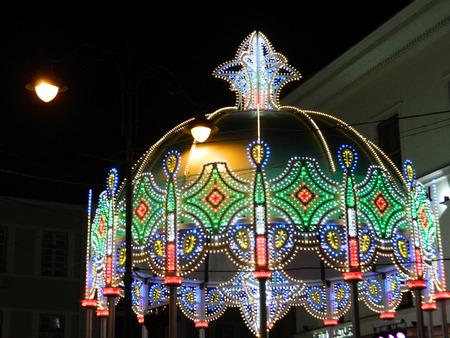 roof light: Main Christmas lights dome on Nicolae Balcescu street in Sibiu, Romania.