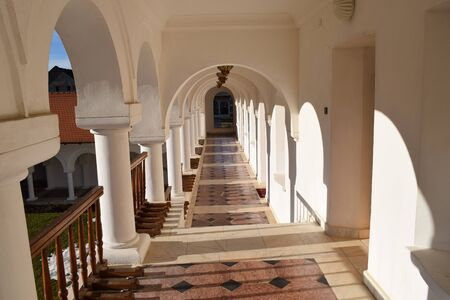 Beautiful monastery corridor at Sambata de Sus monastery, Romania.
