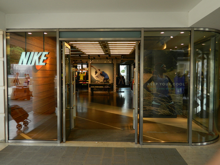 VENICE, ITALY - 6 JULY 2015 Venice Nike store along the Canal Grande