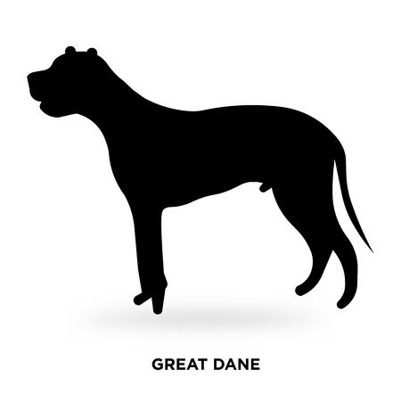 great dane silhouette Vector illustration. Vettoriali