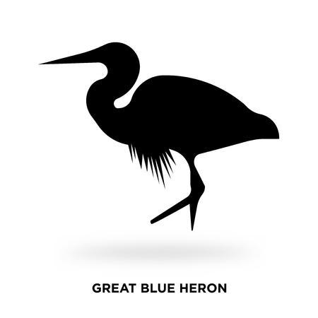 great blue heron silhouette Vector illustration.
