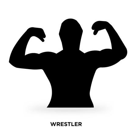 wrestler silhouette Vector illustration. Иллюстрация
