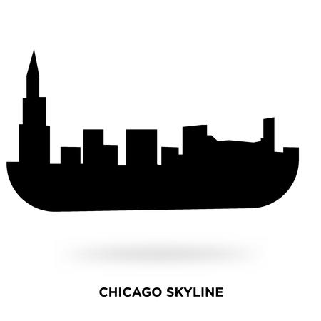 chicago skyline silhouette Vector illustration.
