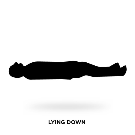 lying down silhouette Vector illustration.