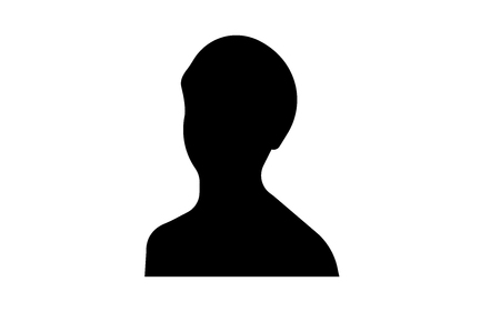 Female head shot silhouette on white background
