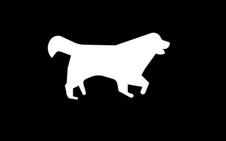 white bernese mountain dog silhouette on black background Stock Illustratie
