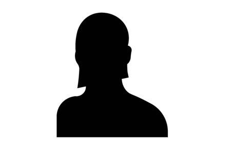 female head shot silhouette on white background