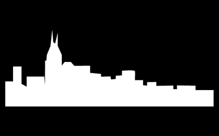 White free nashville skyline silhouette on black background.