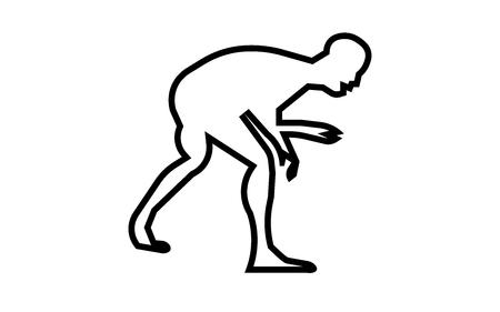 Wrestling silhouette clip art outline on white background. Illustration