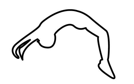 Backflip silhouette outline on white background.