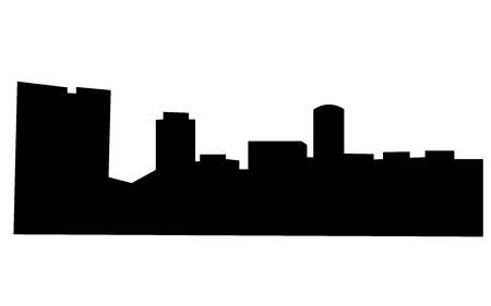 Fort Worth skyline silhouette on white background