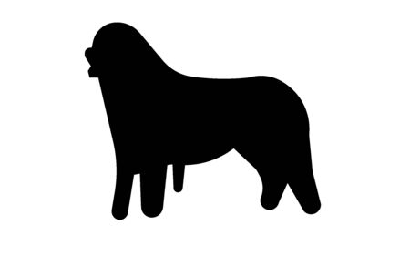Bernese mountain dog silhouette on white background Stock Illustratie