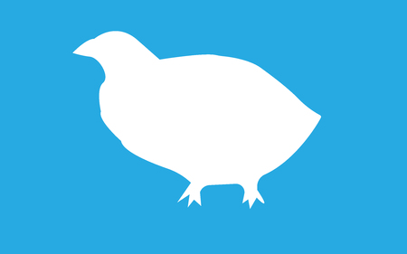 White quail silhouette on blue background.