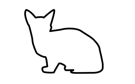 Sphynx cat silhouette outline on white background. Ilustrace
