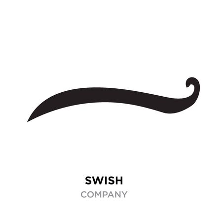 Black swish logo for company. Whooshes and Swashes.