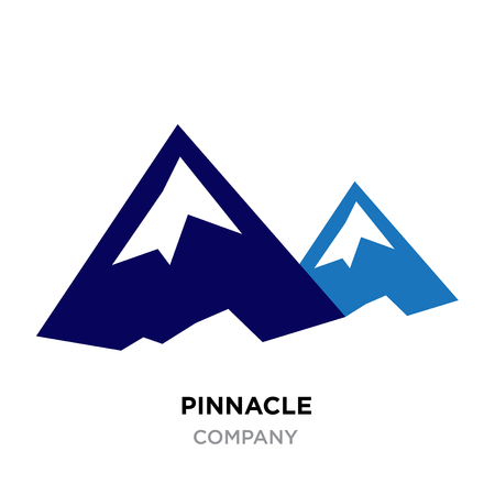 Pinnacle logo, blue mountains vector isolated on white background