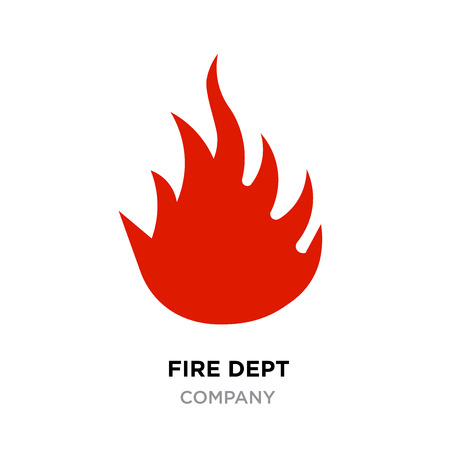 fire dept logo, red flame icon isolated on white background