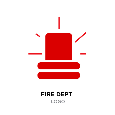 Fire dept logo. Police red flasher siren sign flat style.