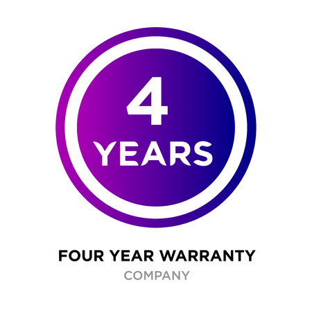 four years warranty logo with purple gradient roundy style