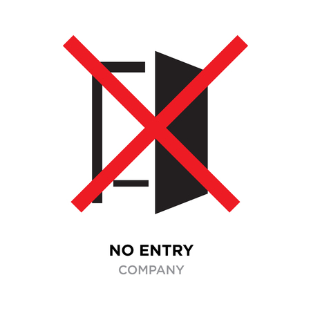 No entry logo, red crossed lines on black door icon vector isolated. Stock Illustratie