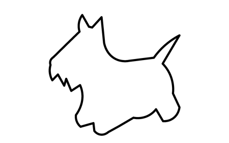 scottie dog silhouette outline on white background Vettoriali