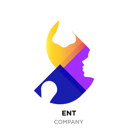 ENT logo concept. Head, nose doctor specialists in modern flat colorful yellow and dark purple and pink style. Illustration