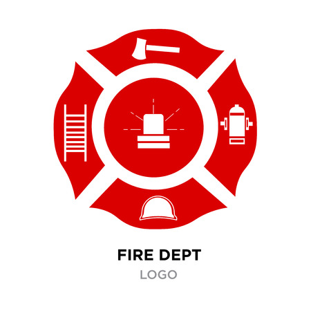 Fire dept logo. Axe Vector Illustration isolated on white background.
