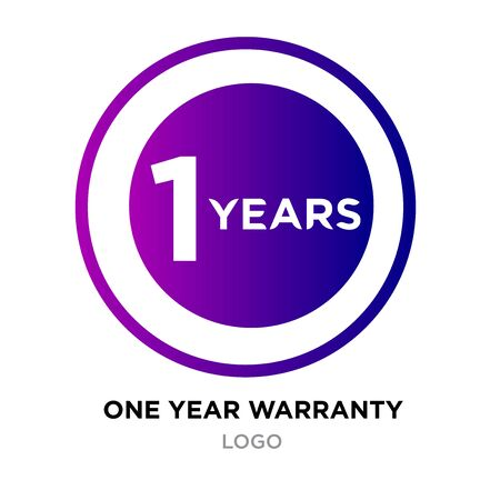 one year warranty logo with purple gradient roundy style