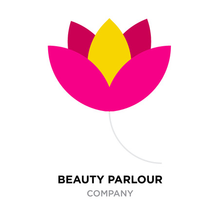 Beauty parlour logo for company. Red and yellow flower vector icon isolated on white background.  イラスト・ベクター素材