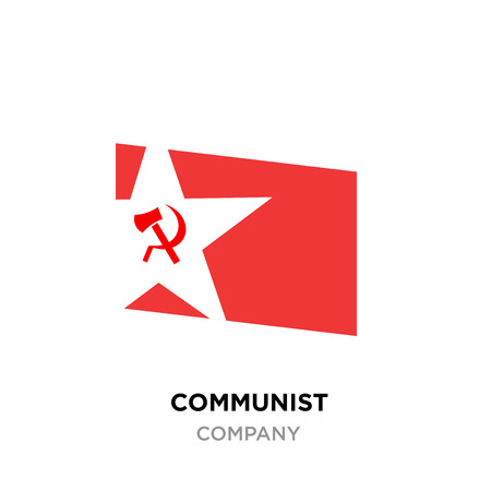 communist logo,USSR communism icon with red hammer and sickle. socialism symbol inside white star Vettoriali