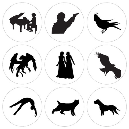 Set Of 9 simple editable icons such as black pit bull, black bobcat, black tumbling, vulture, black bridesmaid, black griffin, black cardinal bird, sherlock, piano player, can be used for mobile, web
