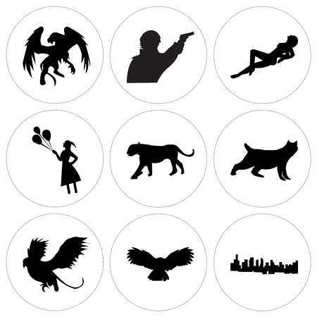 Set Of 9 simple editable icons such as black la sky, black owl, black griffin, black bobcat, black lioness, black girl holding balloons, black woman lying down, sherlock, black griffin, can be used