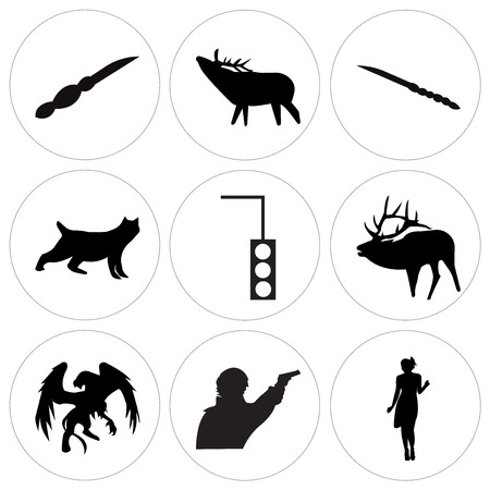 Set Of 9 simple editable icons such as black flapper, sherlock, black griffin, black bull elk, stoplight, black bobcat, black elk, , can be used for mobile, web UI