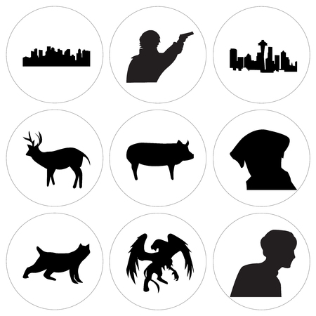 Set Of 9 simple editable icons such as black griffin, black bobcat, black lab head, black pig, black whitetail buck, black space needle, sherlock, black boston sky, can be used for mobile, web UI