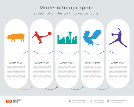 Infographics design vector and black pig, black football, black space needle, black griffin, softball player icons can be used for workflow layout, diagram, annual report, web design. Business