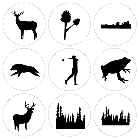 Set Of 9 simple editable icons such as black tree, black tree, black whitetail buck, black frog, black female golfer, black wolf running, black new orleans, pinecone, black bull elk, can be used for