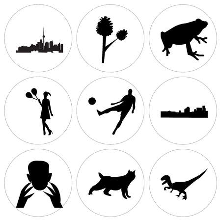 Set Of 9 simple editable icons such as black velociraptor, black bobcat, black frankenstein, black new orleans, black football, black girl holding balloons, black frog, pinecone, toronto sky, can be