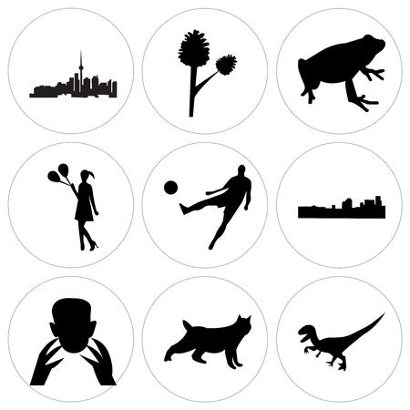 Set Of 9 simple editable icons such as black velociraptor, black bobcat, black frankenstein, black new orleans, black football, black girl holding balloons, black frog, pinecone, toronto sky, can be
