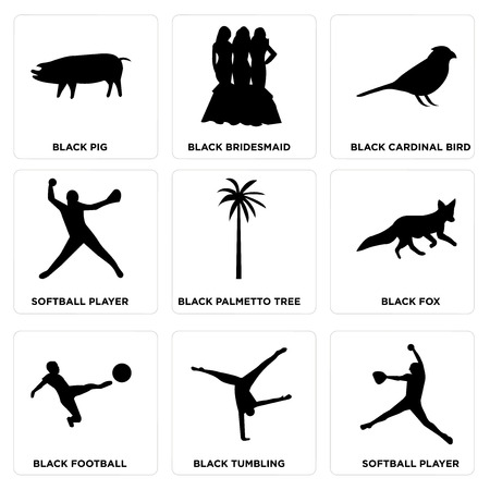 Set Of 9 simple editable icons such as softball player, black tumbling, black football, black fox, black palmetto tree, softball player, black cardinal bird, black bridesmaid, black pig, can be used