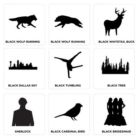 Set Of 9 simple editable icons such as black bridesmaid, black cardinal bird, sherlock, black tree, black tumbling, black dallas sky, black whitetail buck, black wolf running, black wolf running, can