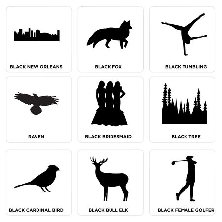 Set Of 9 simple editable icons such as black female golfer, black bull elk, black cardinal bird, black tree, black bridesmaid, raven, black tumbling, black fox, black new orleans, can be used for Stock Illustratie