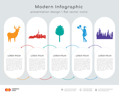 Info graphics design vector and colored whitetail buck, Toronto sky,  pine cone, girl holding balloons,  tree icons.