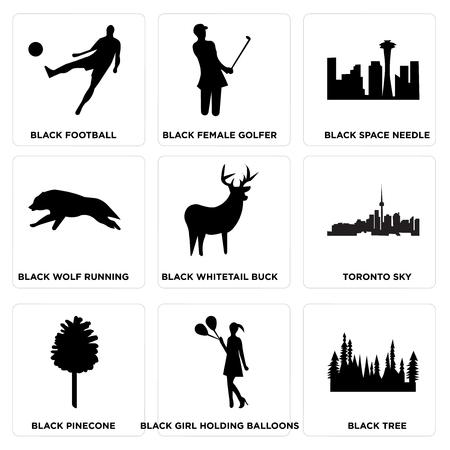 Set Of 9 simple editable icons such as black tree, black girl holding balloons, black pinecone, toronto sky, black whitetail buck, black wolf running, black space needle, black female golfer, black