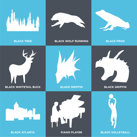 Set Of 9 simple editable icons such as black volleyball, piano player, black atlanta, black griffin, black griffin, black whitetail buck, black frog, black wolf running, black tree, can be used for