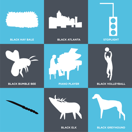 Set Of 9 simple editable icons such as black greyhound, black elk, black volleyball, piano player, black bumble bee, stoplight, black atlanta, black hay bale, can be used for mobile, web UI 向量圖像