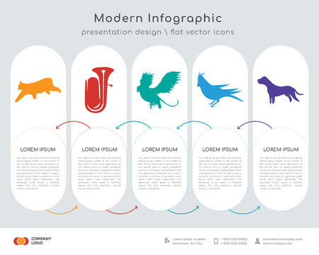Infographics design vector and black bobcat, tuba, black griffin, black cardinal bird, black pit bull icons can be used for workflow layout, diagram, annual report, web design. Business concept with Illustration