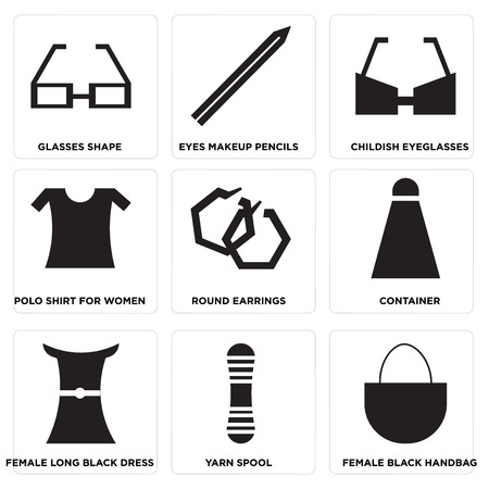 Set Of 9 simple editable icons such as Female black handbag, Yarn spool, Female long black dress, Container, Round earrings, Polo shirt for women, Childish eyeglasses, Eyes makeup pencils, Glasses