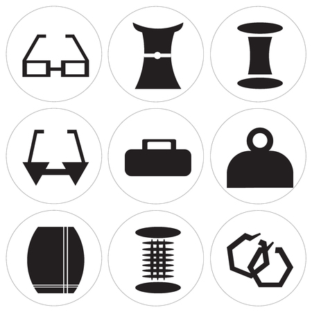 Set Of 9 simple editable icons such as Round earrings, Cylindrical lamp, Skirt with slit and belt, Fashionable hand bag, Female wallet, Glasses for eyes, Thread spool, Female long black dress,