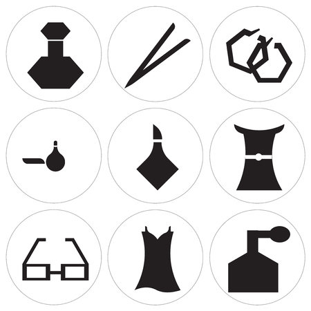 Set Of 9 simple editable icons such as Fountain jar, Vintage dress, Glasses shape, Female long black dress, Bottle, Perfume, Round earrings, Eyebrow, Perfume bottle, can be used for mobile. Ilustracja